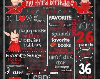 "Olivia Birthday Stat ""Chalkboard""(digital poster)"