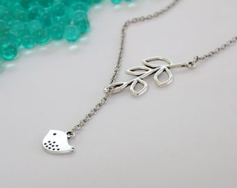 Bird and Leaf Lariat Silver Necklace