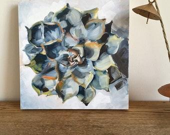 "Original Succulent Still Life, 8"" x 8,"" oil on wood panel"