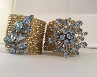 Vintage Brooch Napkin Rings - Upcycled Brooches & Napkin Rings Blue