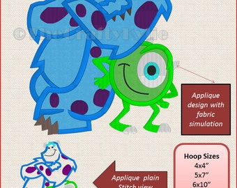 Monster Inc Machine Embroidery Applique Designs 4x4 5x7 6x10 hoop