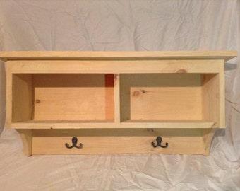 Wood Coat Rack with Shelf