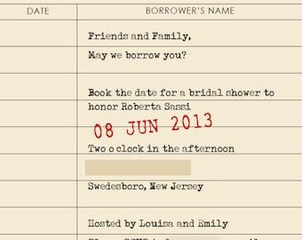 Library Card / Book Theme Shower Invitation - Digital File
