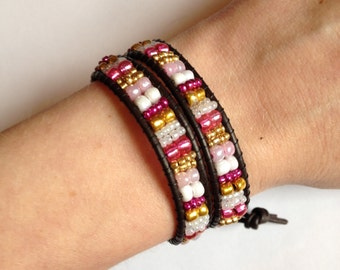 Pink and Gold Double Wrap Bracelet