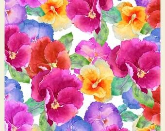 Watercolour Flowers VIOLAS Original Greeting Card, Handmade Watercolour Painting, Original Flower Art Card, Printed Watercolour Blank Card
