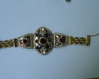 Vintage Hobe Wirework Rhinestone Bracelet As/is