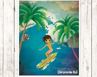 Boy Surfer Wall Art Surf Art Boy Surf wall Decor Beach Art Surfboard Decor Beach Nursery Decor Surfer Illustration gift for kids