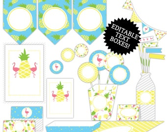 50% OFF! Pineapple & Flamingo Party Printable - Editable JPEG Instant Download
