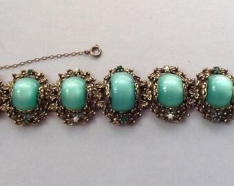 Gold Tone Blue-Green Moon-Glow Cabochon Chunky Bracelet