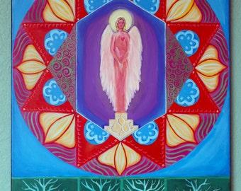"Angel Mandala. Original acrylic painting on gallery wrap canvas, 24"" x 30"". Free shipping"