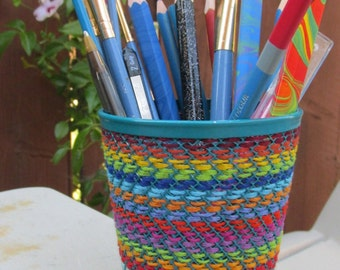 Colorful Hand Embroidered Pencil Cup
