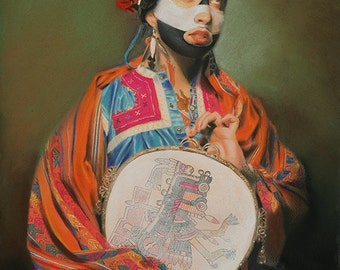 Portrait of Cristina as Itzpapalotl - Fine Art Print - Mexica Spirituality - The Obsidian Butterfly