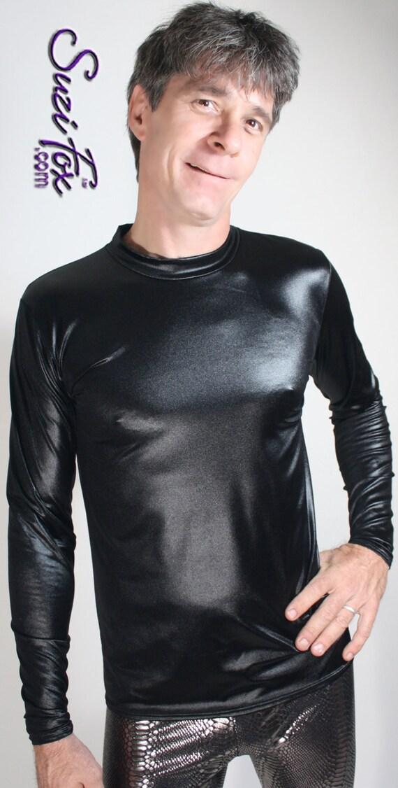 Mens Skin Tight Long Sleeved Tee Shirt In Shiny Wet Look