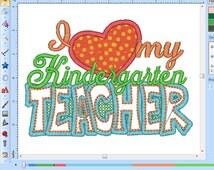 LITTLE GIRL loves her teacher Kindergarten embroidery design.  I love my teacher embroidery saying
