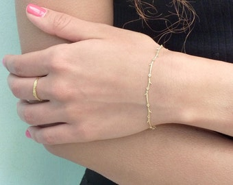 14 karat gold bracelet, solid gold bracelet, branch bracelet, nature inspired