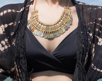 Drifter Vintage Gold Bib Necklace
