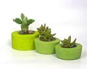 Set of three concrete planters, Candlestick holders, Succulent planters, Cacti planters, Window garden decor
