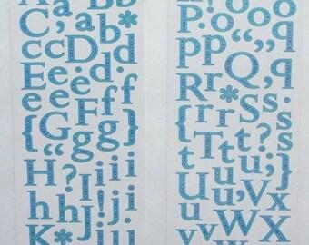 Miss Elizabeths Blue Alphabet Sticker Sheet Double Sided Acid Free Lignin Free