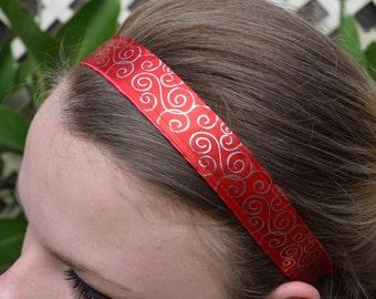 Non-Slip Red with Gold Swirls Satin Headband