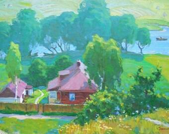 "IMPRESSIONIST VINTAGE ORIGINAL Oil Painting Rural Landscape ""Near the river"" by Gerasimenko S. 1978 Fine Art Handmade Artwork Summer River"