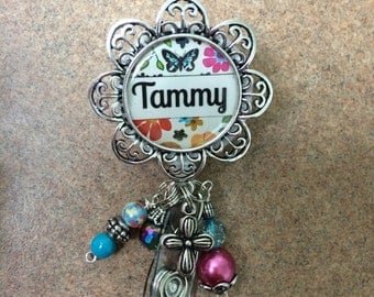 Personalized Retractable ID Badge Reel with Beads