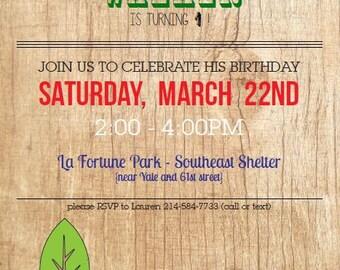 1yr Custom  Woodland/Outdoor Birthday Invitation