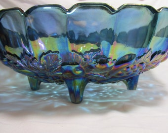 Iridescent  Blue Carnival Glass Fruit Bowl, Reproduction
