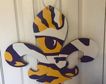 LSU Tiger Fleur de lis Door Hanger