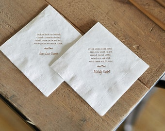 Custom Wedding Song Bar Napkins (50)