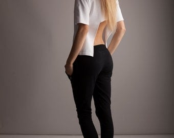 White Top with Open Back/ Open Back Top/ French Terry/ Short Sleeve Top/ HALF BACK TEE