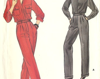 Vogue 1980s vintage sewing pattern - aviator style jumpsuit - Size 6-8-10