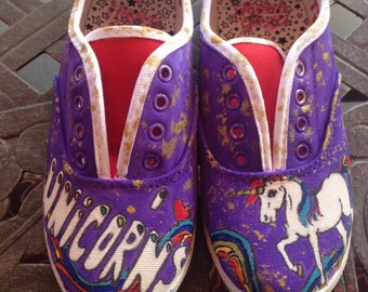 Kid's Hand-Painted Unicorn Shoes
