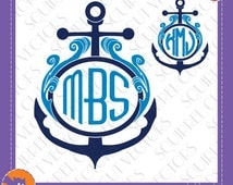 Anchor and Waves Monogram Frame SVG DXF EPS Cutting files