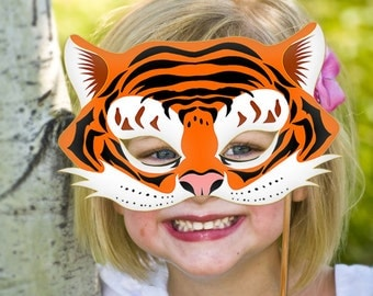 Tiger Mask Printable Animal Masks Childrens Party PDF Costume Masquerade Halloween Birthday Decoration Carnival Adults Kids Mardi Gras
