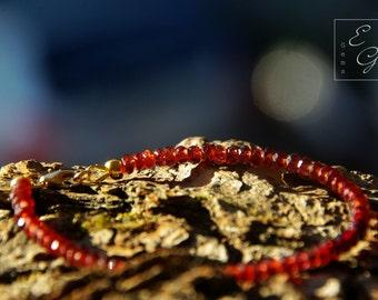 Genuine Shaded Garnet  Bracelet 14k Gold Filled Ombre Bracelet Genuine Red Gemstones Evereday Jewelry Delicate Bracelet January Birthstone