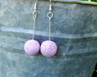 polymer clay earrings,handmade polymer clay porous earrings, purple