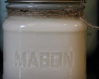 8 oz Square Mason Jar Soy Candle - Gardenia Scent