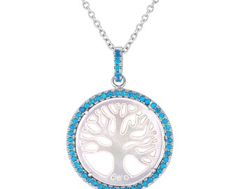 Tree-of-Life Necklace, Tree-of-Life Pendant, Tree & Personalized Birthstone Cubic Zirconia Stones, 925 Sterling Silver Family Tree Pendant