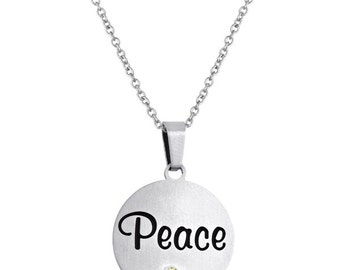 Peace Disc Pendant With Personalized Birthstone