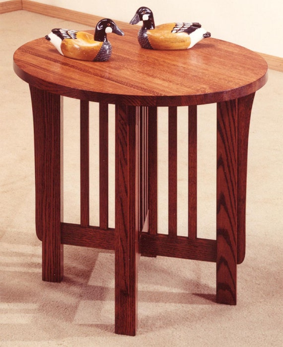 Mission Style 26 Round Lamp End Table by StealthFurniture on Etsy
