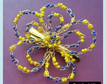 Blue and Yellow Gold Wire Crochet Flower Hair Pin