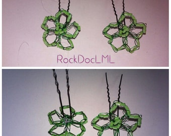 Lime Green Flower U-pin Hair Accessory