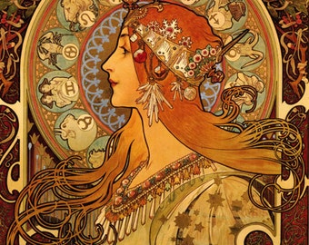 Mucha Zodiac Astrology Horoscope by Alphonse Mucha Fashion Lady Vintage Poster Repro FREE SHIPPING in USA