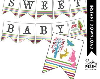 Woodland Baby Shower Banner / Forest Banner / Fox Bear Rabbit Bird Banner / Stripe Pennant / Colorful Banner / DIY Printable /  Digital