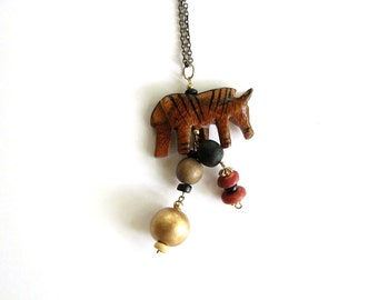 wood zebra necklace on long chain . wooden animal jewelry . unisex tribal necklace . SALE