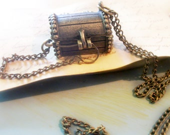 Brass Treasure Chest Charm or Pendant on Brass Chain Opens to hold Something Special Inside