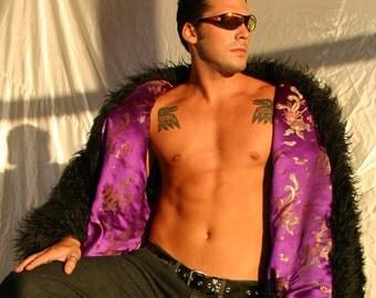 Faux Fur PLAYA TRIM Coat, lined Men's reversible Festival Halloween Pimp Goth Steampunk Burningman style playacoat playa jacket luxury