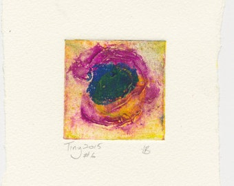 Monotype collagraph Tiny 2015 series #6 green-yellow cobalt violet blue green affordable original abstract art