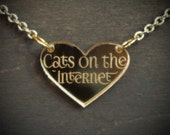 Cats on the Internet Gold Mirror Acrylic Necklace
