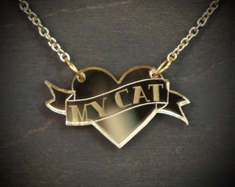 MY CAT Heart and Scroll Gold Mirror Acrylic Necklace